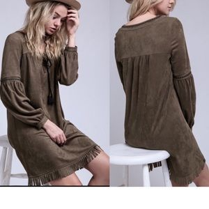 Dresses & Skirts - The Adorable Adrian Lace Up Olive Suede dress!