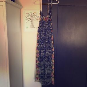 Leopard and Floral Print Halter Maxi Dress
