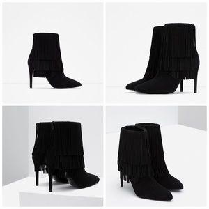 Zara Black suede fringe boots in size 39
