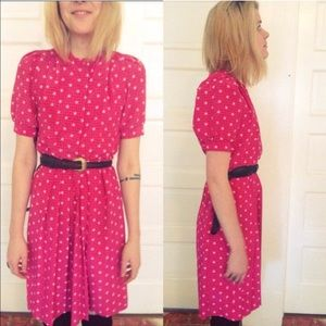 Vintage Pink Novelty Print Summer Dress