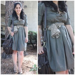Chloe Army Green V Neck Silk Dress