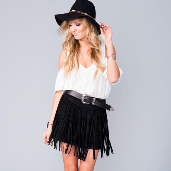 4c3da323af SMYM Rancho Fringe Skirt Black Suede. NWT. Show Me Your MuMu