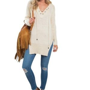 Sweaters - Cream Long Sleeve Side Slit Lace Up Sweater Tunic