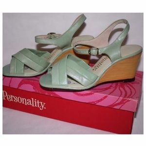 1960's Vintage Mint Green Platforms,6/6.5