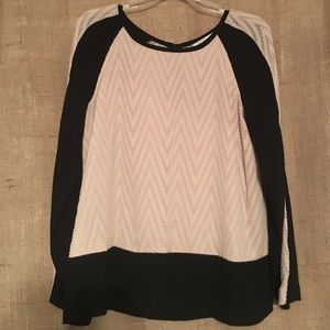 Rachel Roy black and cream long sleeved blouse