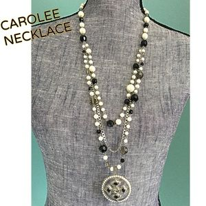CAROLEE Multi-Strand Cross Rhinestone Necklace