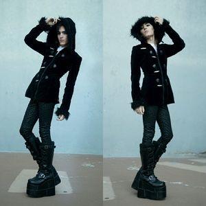 cf484e75c7a Tripp nyc Jackets   Coats - Tripp Black Velvet Fur Trim Hood Coat Gothic  Goth