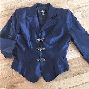 JS Collections Jackets & Blazers - Dark Blue dressy formal jacket