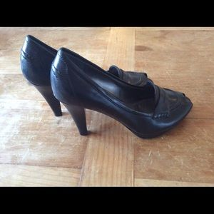 Tahari Shoes - Penny Loafer Styled Peep-toe Heels