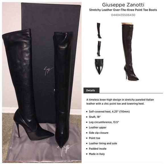59f82886fe40b Giuseppe Zanotti Shoes - Auth Giuseppe Zanotti OTK Stretch Leather Boots