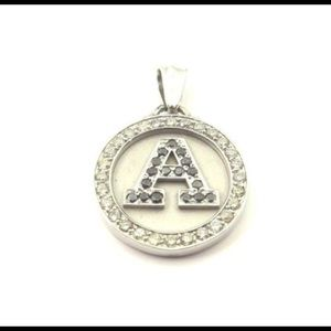 "Jewelry - 10k White Gold ""A"" Initial Diamond Pendant 1.00ct"