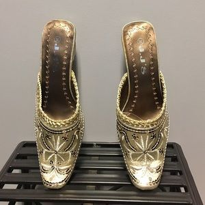 JJ Footwear Shoes - Gold mules with stitching details & sequins