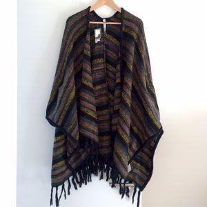 Kensie Sweaters - Kensie Knit Fringe Striped Poncho