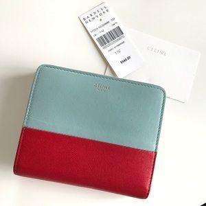 Celine wallet bicolor red sky light blue AUTHENTIC