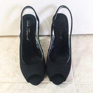 Lulu Townsend Shoes - Black peep-toe sling back pumps