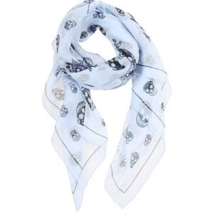 NWT Alexander McQueen Sky Blue Black Skull scarf