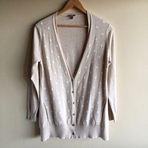 J. Jill Sweaters - Polka dot cardigan sweater in oatmeal