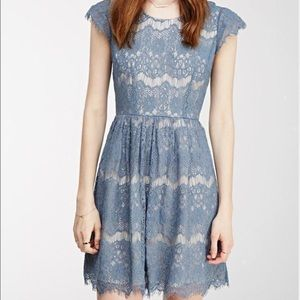 dusty blue laced dress