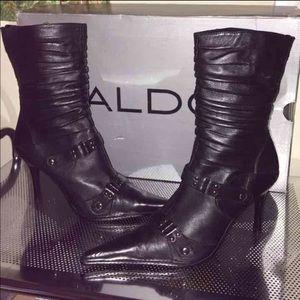 Aldo Shoes - NIB $220 Aldo black leather boots heels booties