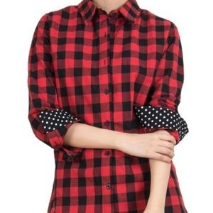 choies Tops - 5 ⭐ rated Black &red plaid shirt polka dot details