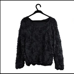 American Apparel Tops - American Apparel Lace Floral LongSleeve Top Black