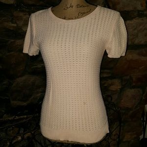 Frenchi Sweaters - Frenchi short-sleeved cotton sweater w/black tie
