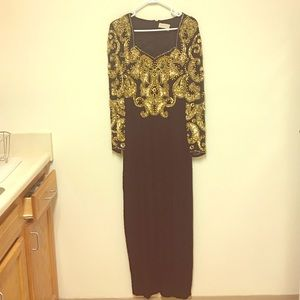 Women's vintage beaded sequined dress gown size 10