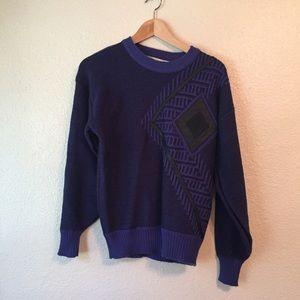 Vintage 80s sweater. Geometric purple and black S