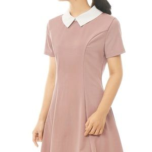 Allegra K Dresses & Skirts - Pink swing dress with white collar