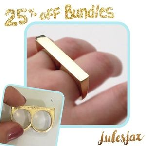 Jewelry - Gold double finger modern bar ring small
