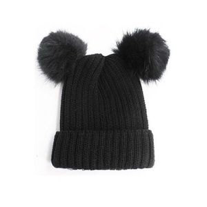 Accessories - DOUBLE FUR POM POM KNIT BEANIE HAT