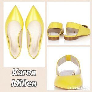 Karen Millen Shoes - Karen Millen yellow slingback flats