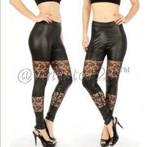 VEGAN Leather Floral Lace Legging