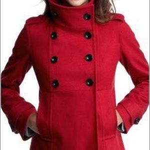 Like new!  GAP red peacoat with funnel neck