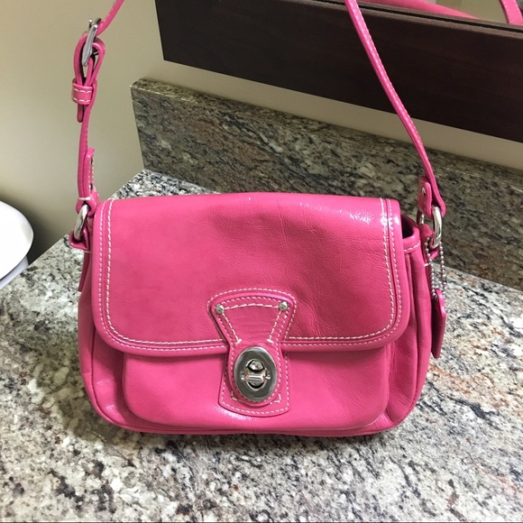 80% off Coach Handbags - Coach Hot Pink Leather Purse (Small bag ...