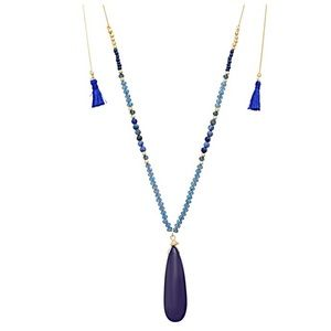 🌎📿Beaded Teardrop & Tassel Necklace-Bright Navy