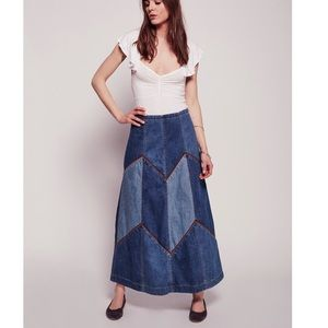 Free People Dresses & Skirts - ⚡Final $ Free People Denim Suede Maxi Skirt