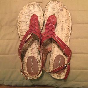 Brown-maroon Merona sandles.