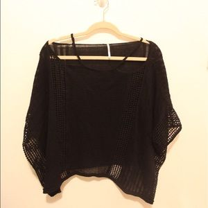 Free people crochet cold shoulder poncho/sweater