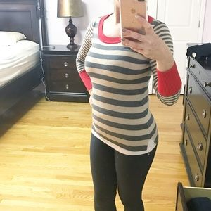 Grey cream and red sweater