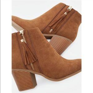 JustFab Shoes - NIB JustFab Cognac Faux Suede Booties