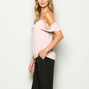 Essue Tops - Cold Shoulder Pink Top