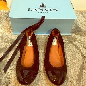 Lanvin Shoes - Lanvin suede and patent cap toe ballerina flats