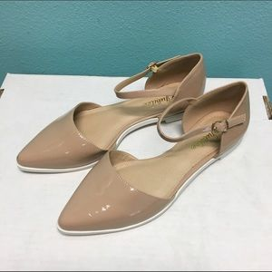 Nude patent pointy flats with ankle strap