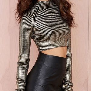 NastyGal Midas Ribbed Cropped Sweater in Gold
