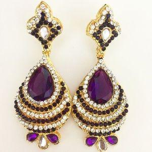 Purple Crystal Bollywood Chandelier Earrings