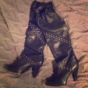 Michael Kors slouchy leather studded black boots