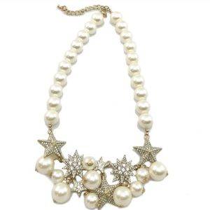 T&J Designs Jewelry - T&J Designs PEARL AND PAVE STAR NECKLACE 18K