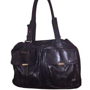 auth YSL oversize black leather zip top SATCHEL