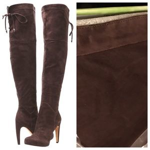 Over the knee Sam Edelman Kayla suede brown boots